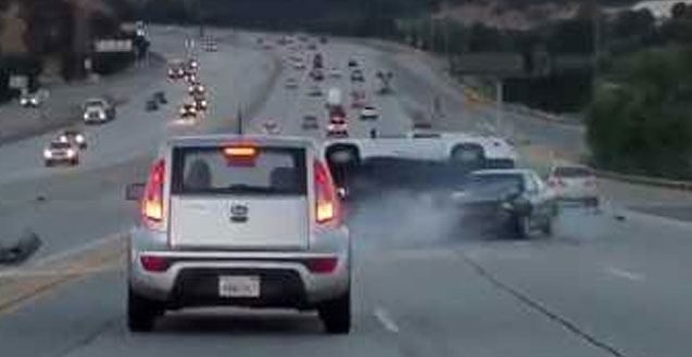 Dashcam records road travel accidents low light