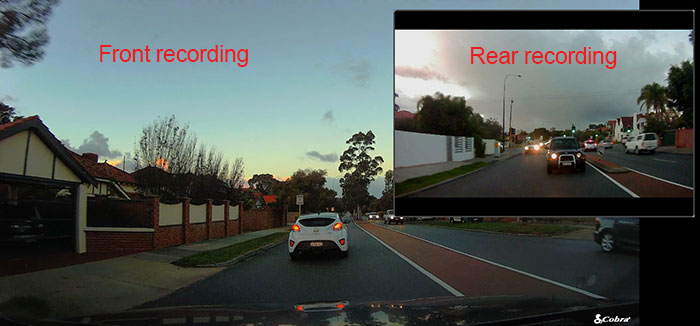 Dual camera dash cam video example